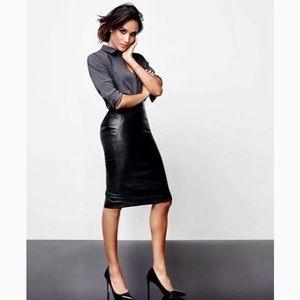 Dresses & Skirts - Black Faux Leather Pencil Skirt